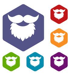 beard and mustache icons set hexagon vector image