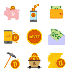 bitcoin and money financial related graphic icon vector image