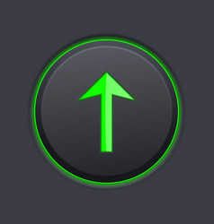 black up button with green arrow vector image