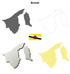 Brunei outline map set vector