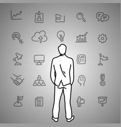 Business dilemma businessman looking at the gray vector