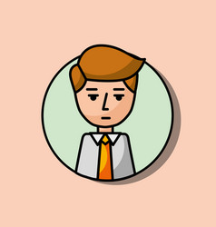 businessman portrait character serious gesture vector image