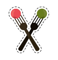 Cartoon crossed fork with fruit tasty vector