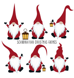 christmas gnomes collection isolated on white vector image