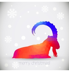Christmas greeting cards with goat symbol of year vector