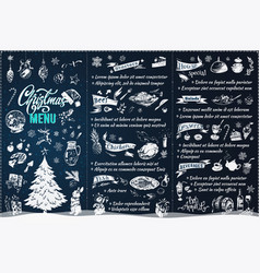 Christmas menu design chalk style brochure vector