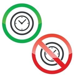Clock permission signs vector image