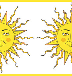 colored in yellow half sun with human face symbol vector image