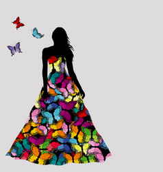 Colorful silhouettes of woman with butterflies vector