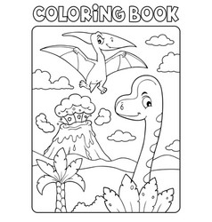 coloring book dinosaur composition image 5 vector image