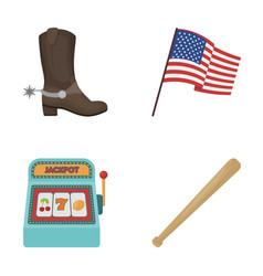 Cowboy boots national flag slot machine vector