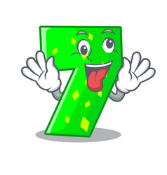 Crazy number seven isolated on the mascot vector