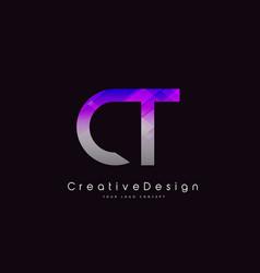 Ct letter logo design purple texture creative vector