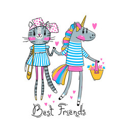 Cute card with best friends bakitten and vector