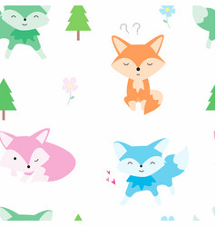 cute little fox and tree seamless pattern fox vector image