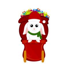 cute rabbit on a christmas sledge vector image