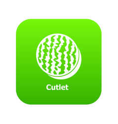 Cutlet icon green vector