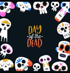 Day dead card colorful watercolor skull art vector