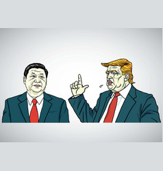 donald trump and xi jinping cartoon portrait vector image