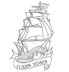 Drawing ship vector