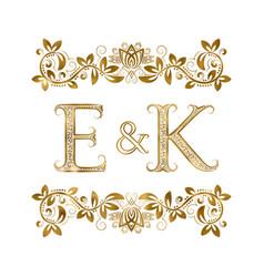 E and k vintage initials logo symbol vector
