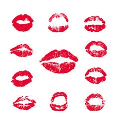 female lips lipstick kiss print set vector image
