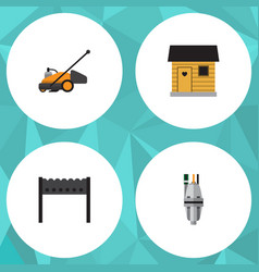flat icon dacha set of pump lawn mower stabling vector image