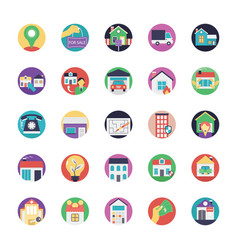 flat icons of real estate vector image