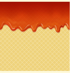 flowing caramel cream and waffle background vector image