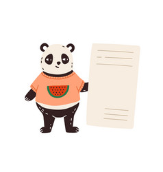 Funny cute bear panda holding empty banner card vector