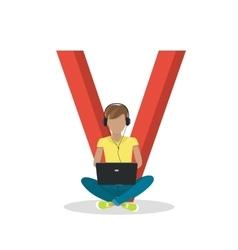 Gadget Alphabet Letter - V vector