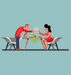 Girl and guy having a romantic dinner vector