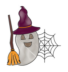 halloween happy ghost with hat and broom vector image