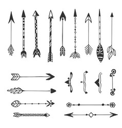 Hand drawn arrows collection ethnic ink set vector