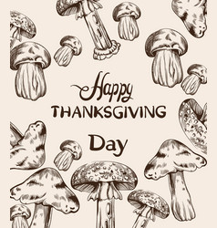 Happy thanksgiving card line art mushrooms and vector