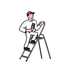 House Painter Standing on Ladder Cartoon vector