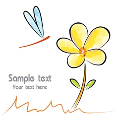 Image an flower and dragonfly on white background vector