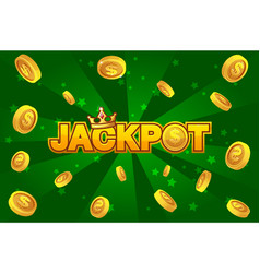 Jackpot wins money gamble winner text shining vector