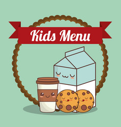 Kids menu milk cookies and cup coffee vector