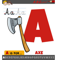 Letter a from alphabet with cartoon axe object vector