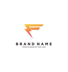 Letter f flash electrical logo design vector