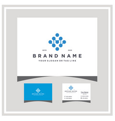 Letter m tech logo design and business card vector