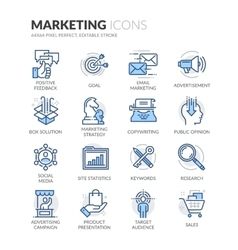 Line Marketing Icons vector