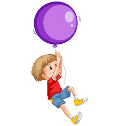 Little boy and purple balloon vector