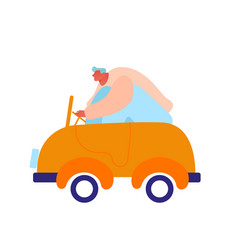 Man driving little baby toy car isolated on white vector