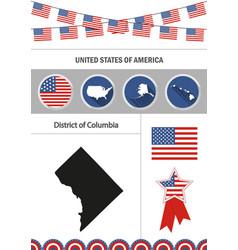 Map district columbia set flat design vector
