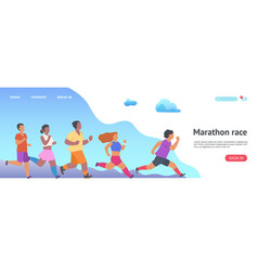 Marathon race landing page jogging people website vector