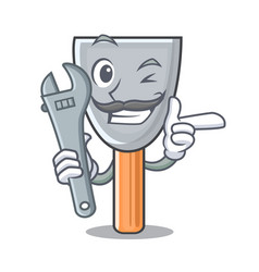 Mechanic vintage putty knife on mascot vector
