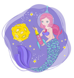 Mermaid rocket space cartoon princess illus vector