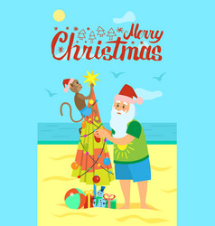 Merry christmas santa claus and monkey decorating vector